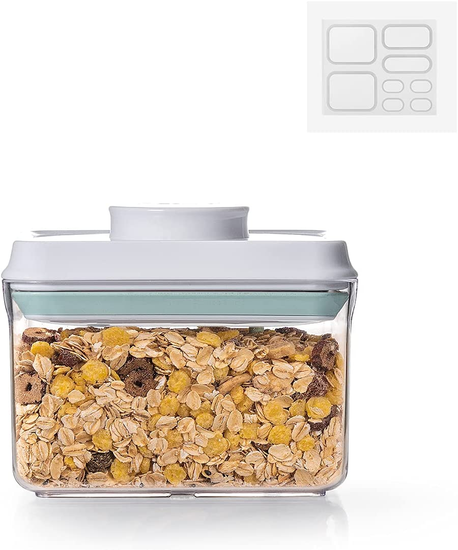 Ankou Airtight Food Storage Container - 1.0 QT (1000ml) Pop Up Food Containers With Lids, Bpa Free Stackable Dispenser Container for Cereals Coffee Tea- 8 Labels - Clear
