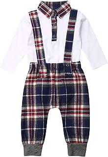 Newborn Baby Boy Fall Clothes Long Sleeve Romper Bodysuit Plaid Jumpsuit Suspender Pants 2PCS Winter Christmas Outfit set