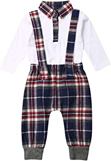 Christmas Baby Girl Boy Plaid Clothes Long Sleeve Romper Dress+Bowknot Headband/T-Shirt Tops+Bib Pants