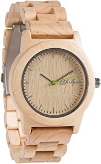 Woodgrain Wooden Watch with Genuine Leather Strap Analog Casual Wood Watches