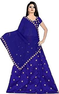 Sarvaiya Trendz Women's Mirror Worked Lehenga Choli with Heavy Dupatta Set Semi-Stiched(freesized) Blue