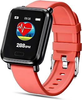FENHOO Smartwatch, Reloj Inteligente Impermeable IP68 para Hombre Mujer Niños, Pulsera Actividad Inteligente con Pulsómetro Monitor de Sueño Podómetro Calorías Reloj Digital para Android iOS (Rojo)