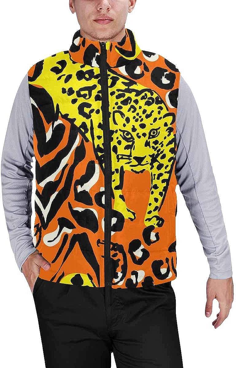 InterestPrint Men's Lightweight Keep Warm Puffer Vest for Outdoor Lavender Flowers and Butterfly