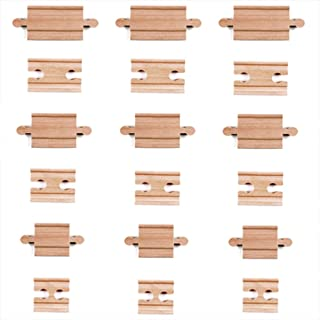 Tiny Conductors 18 Piece Wooden Train Track Connectors & Adapters, 100% Real Wood Male-Male & Female-Female Pieces, Compatible with Thomas and Major Brands Wooden Toy Railroad Sets, (18-Piece)