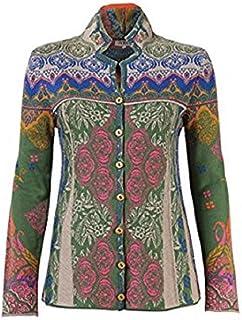 IVKO Nehru Neck Sweater w Pleated Front, Green/Hunter