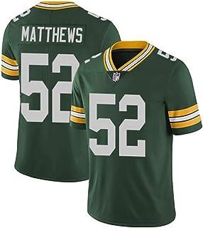 メンズラガーシャツ, メンズラグビージャージアメリカフットボールシャツRugby Jersey番号52 MATTHEWS 、綿の半袖スポーツウェア、日常着やラグビー競技に最適 (Color : 緑, Size : M)