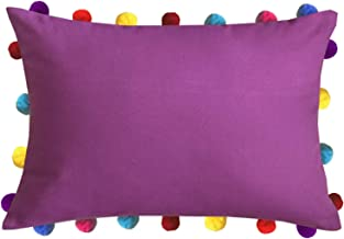 "Lushomes Bordeaux Rectangle Cushion Cover with Colorful Pom poms (Single pc, 14 x 20"")"