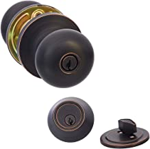AmazonBasics Entry Door Knob With Lock and Deadbolt, Round, Oil Rubbed Bronze