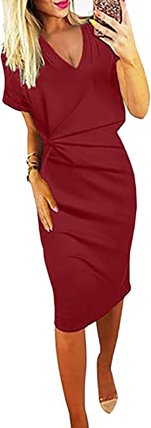 JPVDPA Women's Basic Crewneck Belted Office Dress with Pockets Solid Color Sexy Short Sleeve Party Slim Dress