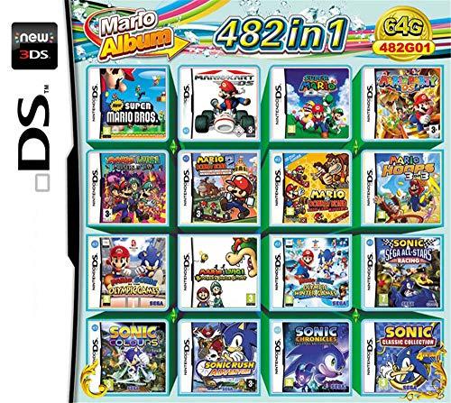 Yaogroo 482 Jeux dans 1 Cartouche de Jeu NDS Game Pack Card Super Combo pour DS 2DS New 3DS XL