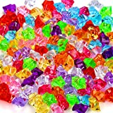 180-190pcs Premium Multicolored Fake Crushed Ice Rock Plastic Gems Jewels Acrylic Ice Rock Crystals Treasure Fake Diamonds Plastic Ice Cubes for Kids Toy Decoration Wedding Display Vase Fillers Crafts