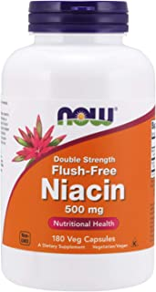 NOW Supplements, Niacin (Vitamin B-3) 500 mg, Flush-Free, Double Strength, Nutritional Health, 180 Veg Capsules