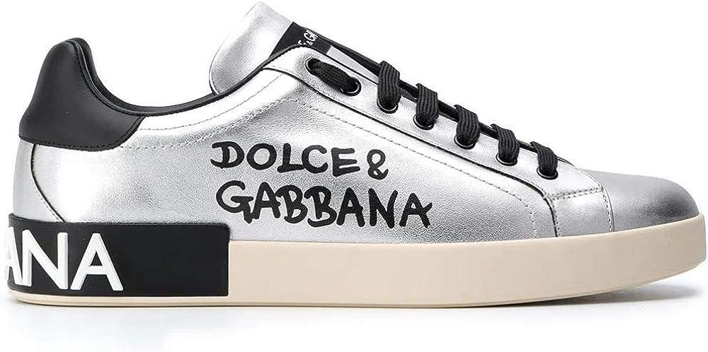 Dolce & gabbana grigio pelle sneakers uomo CS1772AW151H12LX