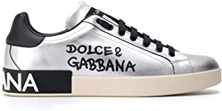 Luxury Fashion   Dolce E Gabbana Uomo CS1772AW151H12LX Grigio Pelle Sneakers   Stagione Permanente
