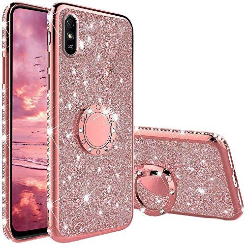 Hülle Kompatibel mit Xiaomi Redmi 9A/Redmi 9AT, Glitzer Handyhülle mit Ring 360 Grad Ständer, Diamant Glanz Bling Stylischer Mädchen Hülle Ultra-Slim Stoßfeste Anti-Rutsch Silikon Schutzhülle - Pink