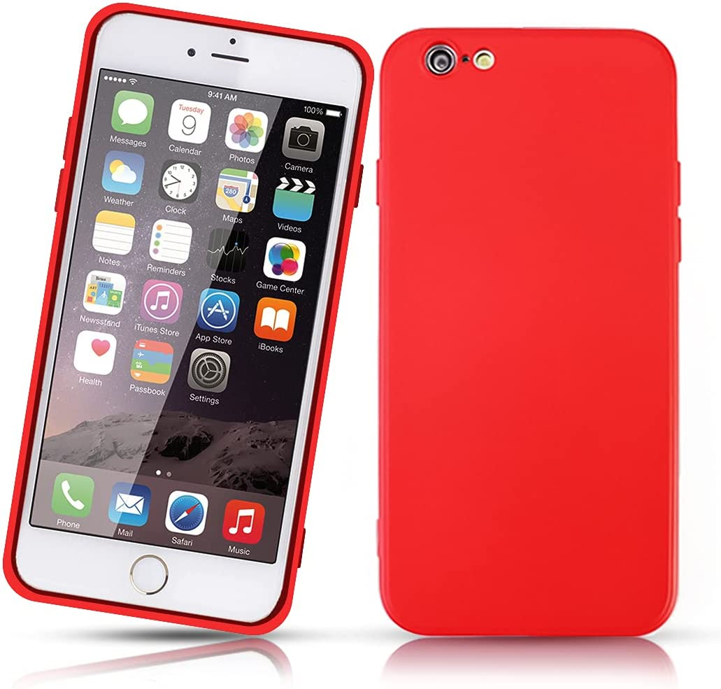 red iPhone 6 Case,Shockproof Slim Fit Silicone TPU Soft Rubber Cover Protective Back Bumper for iPhone 6/6s red, Case for Apple iPhone 6/6S 4.7-inch for Boys Girls Woman Man