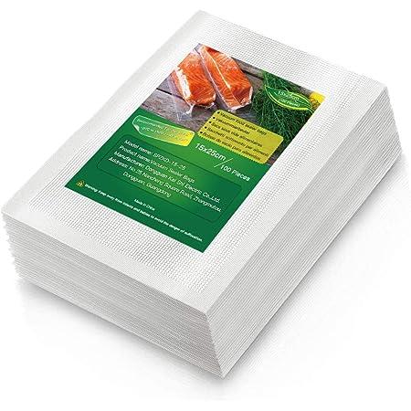 BoxLegend Sac Sous Vide Alimentaire, 100 Sacs 15 x 25cm pour la Conservation des Aliments et la Cuisson Sous Vide, BPA et LFGB Approuv, Compatible Avec n'importe Quelle Scelleuse Sous Vide