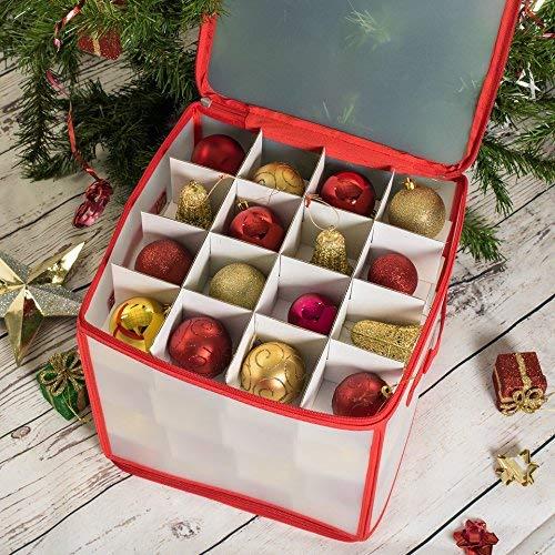 ASAB Christmas Tree 64 Bauble Decorations Storage Box, White, Standard
