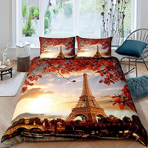 DUVETWEI Kids Duvet Cover with 2 Pillowcases,with 2 Pillowcases,Soft Microfiber Pintuck Duvet Cover Set (1 Duvet Cover 200x200 cm /2 Pillow Cases 50x75 cm) Paris Eiffel Tower theme sunset landscape r