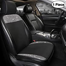 Black Panther Luxury PU Leather Front Car Seat Cover Protector with Bling Bling White Crystal Rhinestones for Women Girls, Universal Fit 95% of Cars, 1 Seat