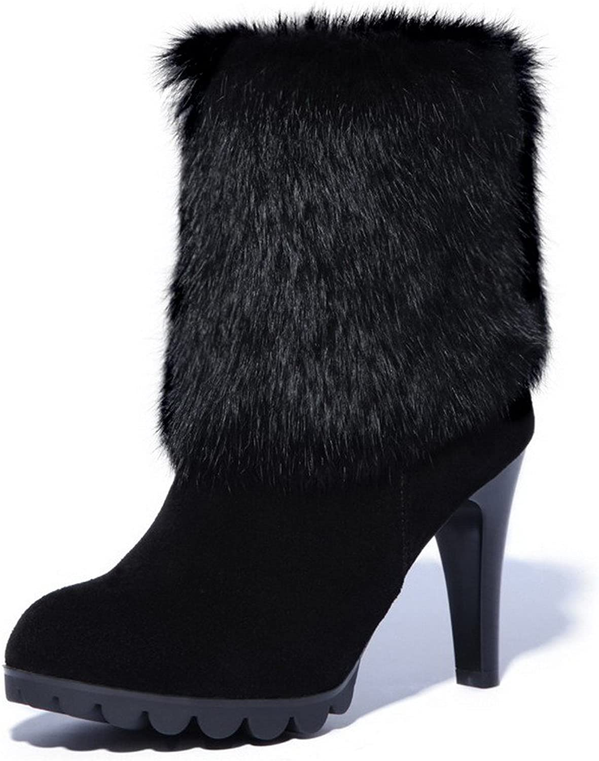 WeenFashion Women's Cow Skull Patch High-Heels Closed-Toe Boots with Rabbit Hair