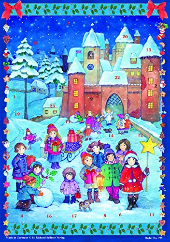 Grand Calendrier de l'Avent 24 portes 355 x 260 mm - Richard Sellmer Verlag RS 785 enfants Carol Chantant - Bleu Translucide avec paillettes et Windows - RS 798 - Design Antique Allemand traditionnel
