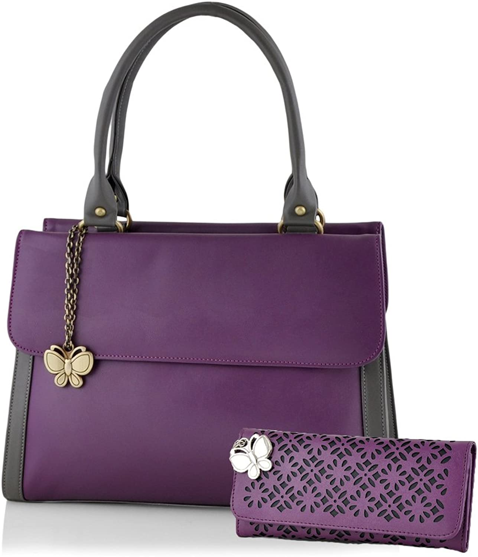 Butterflies Women's Handbag (Purple) (BNS WB0103)