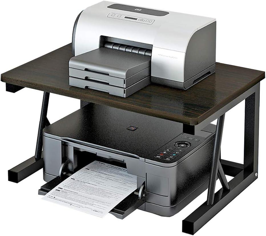 Desktop Printer Stand for Home Office, Desk Storage Organizer Shelf for Printer, Copier, Scanner, Files, and Books (Black)