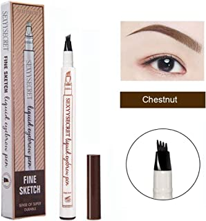 Microblading Eyebrow Pencil Tattoo Brow Ink Pen Waterproof Long Lasting Smudge-Proof Eyebrow Tattoo Pen with Micro-Fork Tip Eyes Makeup (Chestnut)