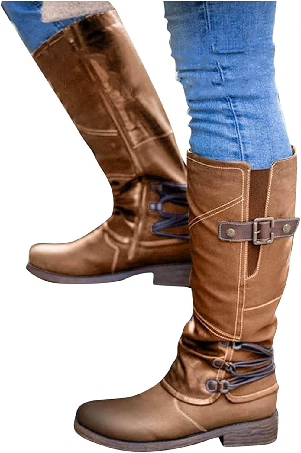 Hbeylia Boots For Women Vintage Fashion Casual Leather Round Tie Chunky Block Low Heels Motorcycle Riding Mid Calf Boots Retro Slip On Work Boots With Metal Buckle Winter Short Boots For Ladies