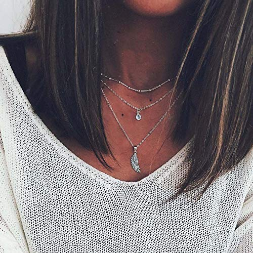 Yienate Collar con colgante de ala de ángel, cadena delicada, colgante de diamantes de imitación, estilo bohemio, multicapa, joyería para mujeres y niñas