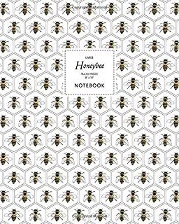 Honeybee Notebook - Ruled Pages - 8x10 - Large: (White Edition) Fun notebook 192 ruled/lined pages (8x10 inches / 20.3x25....
