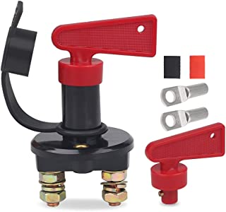 WATERWICH DC 12-48V Power Kill Switch Cut/Shut off Marine Battery isolator Disconnect Switch 200 Amp With 2 Keys and 2 Copper Ring Terminals for Ship Boat Small Yacht RV Camper Truck Car Vehicle