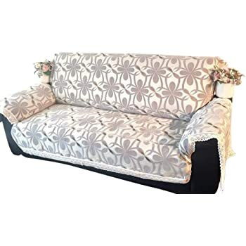Amazon.com: Ofit Quality Grey Chenille With Cotton Lace Sofa Throw Slipcovers Furniture Protector (Sofa): Home & Kitchen