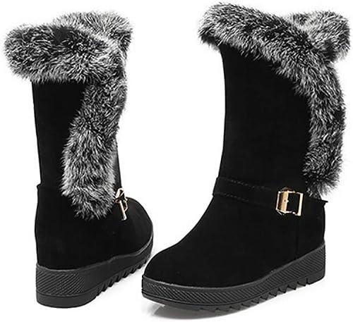 ZHRUI Stiefel de Nieve para el Invierno para damen, Matorral, Stiefel cálidas de algodón Grueso, rot, 42 (Farbe   schwarz, tamaño   34)