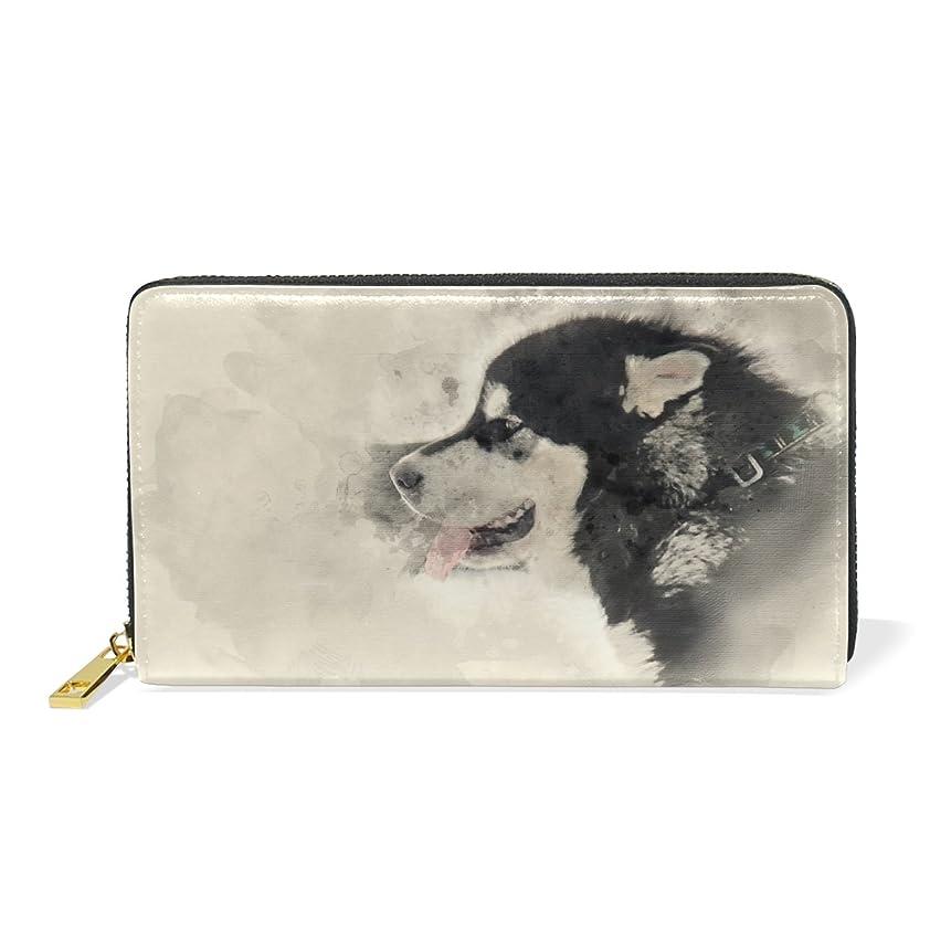 放射性認識発音するAOMOKI 財布 長財布 本革 大容量 ラウンドファスナー アラスカ 犬