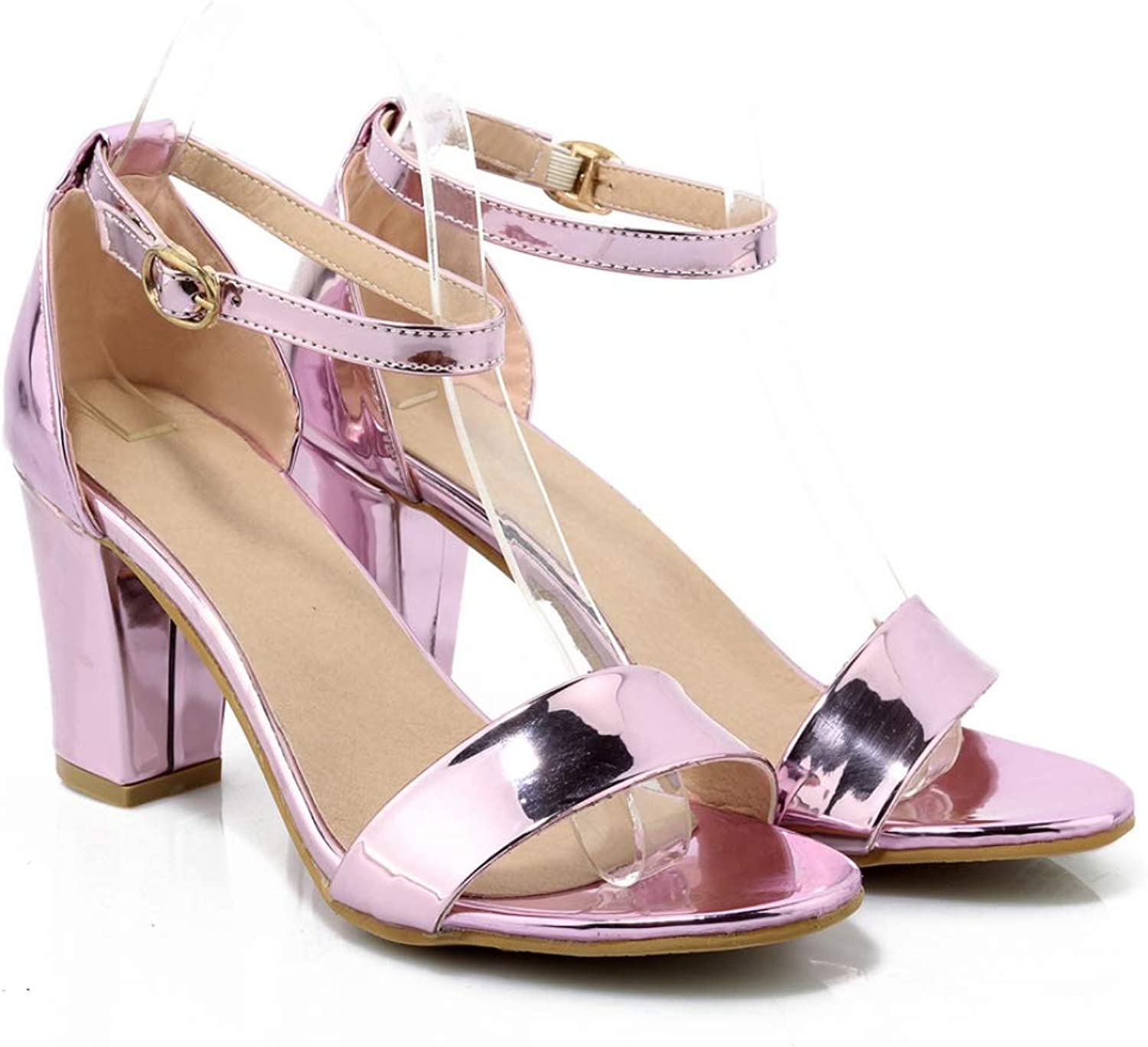 T-JULY Sandal for Women Summer Outside Mixed color Square High Heels Fadshion Ladies Dress Party shoes