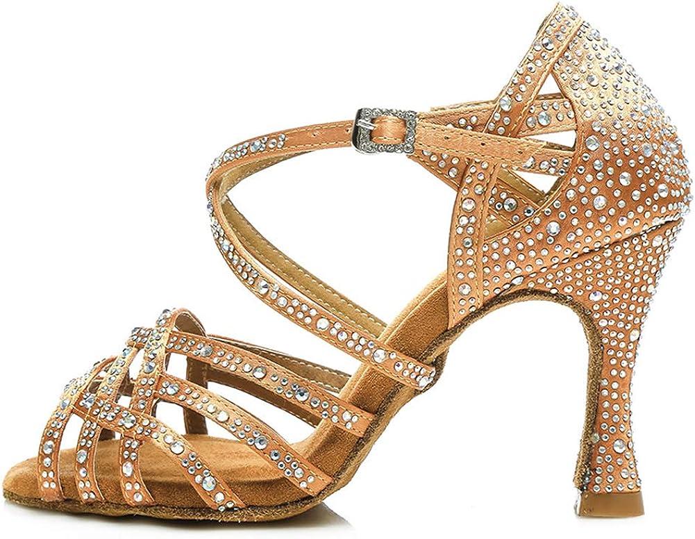 AOQUNFS Women Rhinestone Ballroom Dance Shoes Latin Salsa Perfer