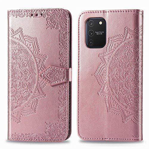 Bear Village Hülle für Galaxy S10 Lite/Galaxy A91, PU Lederhülle Handyhülle für Samsung Galaxy S10 Lite/Galaxy A91, Brieftasche Kratzfestes Magnet Handytasche mit Kartenfach, Roségold