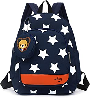 Kids Backpack Cartoon Toddler Schoolbag Boys Rucksack Waterproof Shoulder Bag (Stars & Bear - Blue)