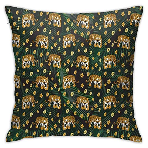 Throw Pillow Cover Cushion Cover Pillow Cases Decorative Linen Wild Tigers for Home Bed Decor Pillowcase,45x45CM