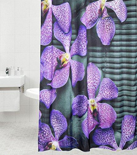 Sanilo Duschvorhang Vanda 180 x 180 cm, hochwertige Qualität, 100prozent Polyester, wasserdicht, Anti-Schimmel-Effekt, inkl. 12 Duschvorhangringe