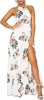 Women's Sexy Deep V Neck Backless Floral Print Split Maxi Party Long Dress OX255 โ€ฆ