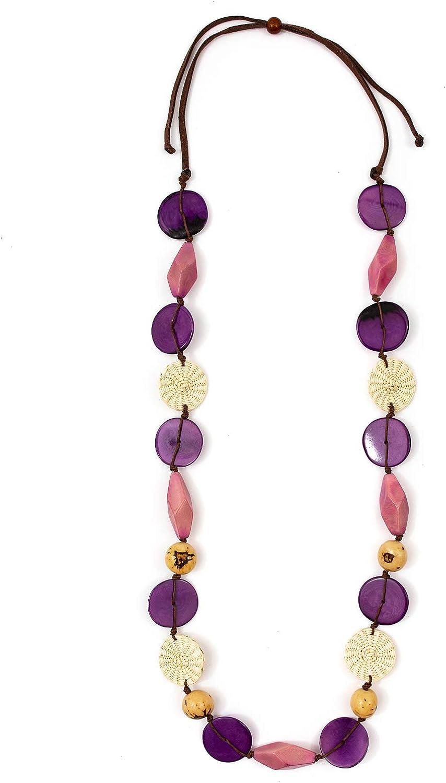 Tagua Pierina Fashion Necklace Tagua Nut Ethical Bead Slow Fashion Beaded Wooden Eco Friendly Boho Unique Handmade Statement Jewelry