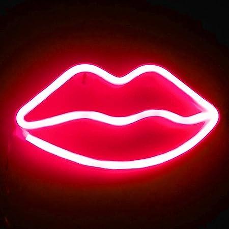 XIYUNTE Lip Néon Enseignes Lèvre lumineuses Décoration murale, Batterie et USB alimenté rouge Lèvre Néons Applique murale Intérieur Luminaires pour chambre, Saint Valentin, Éclairage de Noël