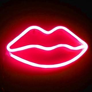 XIYUNTE Lip Néon Enseignes Lèvre lumineuses Décoration murale, Batterie et USB alimenté rouge Lèvre Néons Applique murale ...
