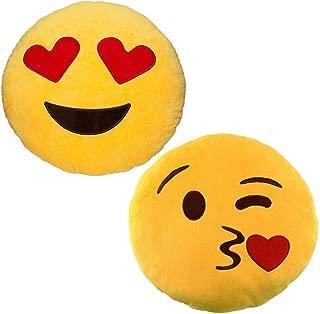 JZK 2 x Stuffed Plush Emoji Cushion Blow kiss + Emoji Cushion Love Heart Eyes, 32cm 12