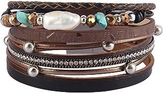 Bfiyi Leather Cuff Bracelets Casual Wrap Bangle Handmade...
