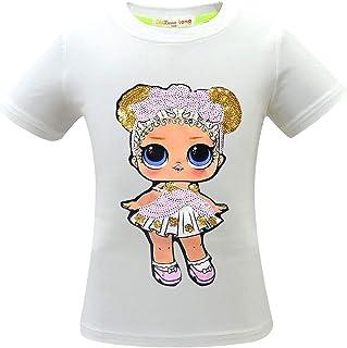 تي شيرت BackStri Girl بأكمام قصيرة للأطفال مزين بالترتر اللامع ملابس الأطفال تي شيرت سن 2-8