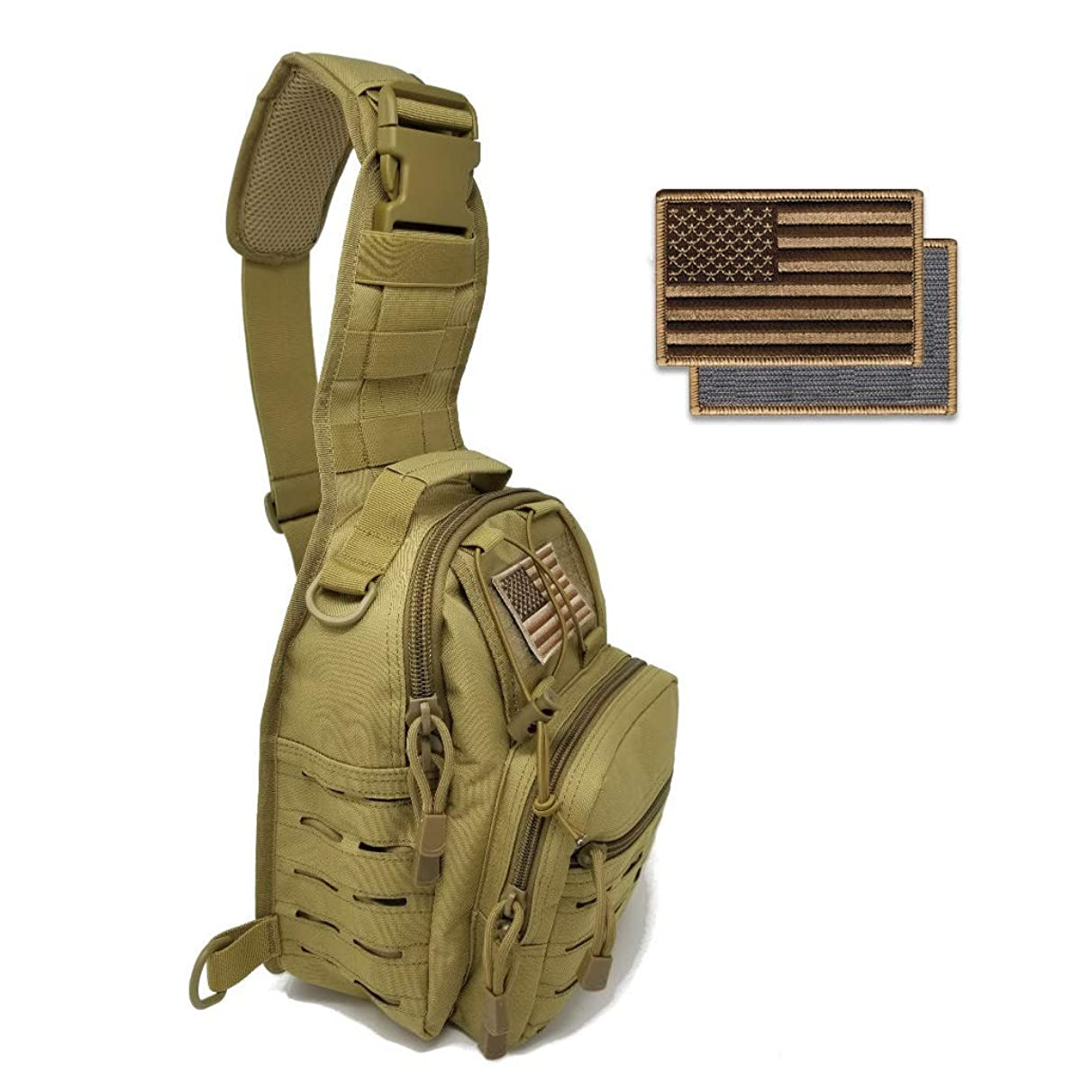 Gearrific Cross Body Tactical Sling Bag EDC Military Style Small Messenger Pack + Free Flag Patch